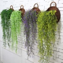 artificial-plants-Hot style 115cm bell willow wall hanging artificial plant wall decoration hanging basket orchid rattan plastic false flowers green on JD