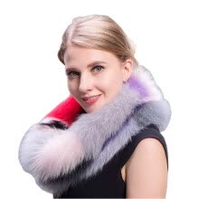 875062531-Ms.MinShu Fashion Colorful Fox Fur Scarf Multi colors Fashion Fox Fur Collar Winter Fox Fur Neck Warmer Female Fur Scarves on JD