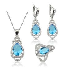 -EIOLZJ Fashion Beautiful Sky Blue Water Drop Cubic zirconia Silver Plated Jewelry Sets for Women Free Jewelry Box on JD