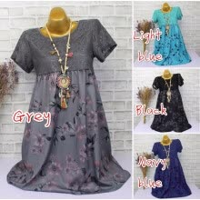 skirts-Women New Fashion  Lace Patchwork Floral Print Vintage Dress Short Sleeve Midi Plus Size Dress on JD