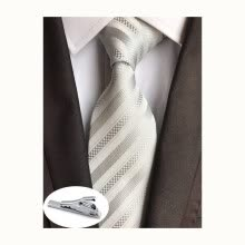 -Men's Classic Striped Jacquard Knit Silk Tie Formal Party Suit Tie + Gift Tie Clip on JD