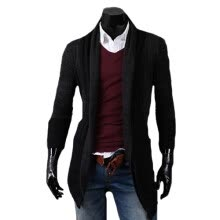 cardigans-CT&HF Men Fashion Leisure Coat Medium Length Tops  Pure Color Coat Elegant Temperament Contracted Silm Jacket on JD