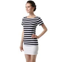 -POPBASIC Women's Summer Short Sleeves Cotton Stripe Pattern T-Shirt on JD