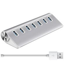 -Premium 7 Ports Aluminum USB 3.0 Hub High Speed USB Splitter for Macbook Pro PC Laptop, Plug and Play on JD