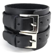 -Hpolw Wide Genuine Leather Mens Bangle Cuff Bracelet, Punk Rock, Fits 7' to 8.5', Black on JD