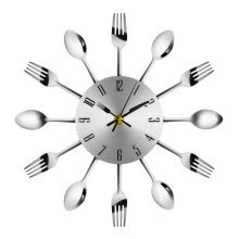 -Modern Stainless Steel Knife Fork Wall Clock Analog for Home Office on JD