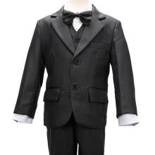 boy-clothing-accessories-Nimble Little Boys Grey Small Grid Formal Suit Set With Plastic Button Shirt and Tie Size 2-13100% Polyester on JD