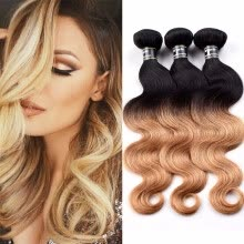-Amazing Star Ombre Virgin Hair Brazilian Body Wave 3 Bundles Human Hair Weave T1B/27 Ombre Hair 2 Tone Body Wave Weave on JD