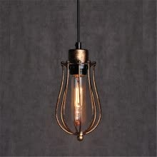 ceiling-lights-Baycheer HL421910 Old Copper 1 Light Wire Guard LED Pendant Lamp in Industrial Style Gold on JD
