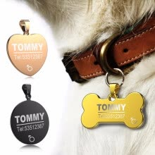 collars-harnesses-leashes-Cntomlv hot sale Anti-lost Stainless Steel Dog ID Tag Engraved Pet Cat Puppy Dog Collar Accessories Telephone Name Tags Pet ID Tag on JD