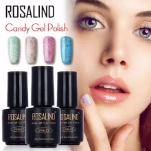 -ROSALIND Gel 1S Black Bottle 7ML Candy Bling D01-24 Gel Nail Polish Semi Permanent Nail Art UV LED Soak-Off Gel Varnish Manicure on JD