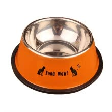 pet-feeding-Stainless steel pet bowl anti-skid multicolored stainless steel spray painting English cartoon printed single bowl dog bowl on JD