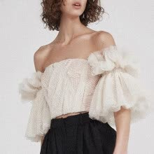 875061821-Strapless Shirt For Women Off Shoulder Embroidery Ruffles Flare Sleeve Sexy Short Tops Summer Fashion 2018 Clothing on JD