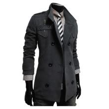 -Zogaa New Men's Wind Coat Double-breasted Long Slim on JD