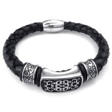 -Hpolw Mens Leather Stainless Steel Spring buckle/Magnetic Clasp black hand-knitted Metal geometry lace pattern Bracelet on JD
