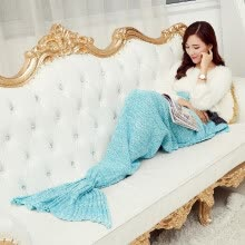 8750203-Handcrafted Knit Blanket Funny Unique Life-size Mermaid Tail Blanket for Women Girls Warm Winter Gift on JD