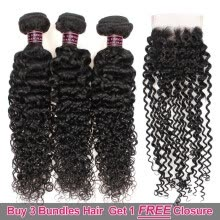 -Ishow Hair Biggest Sale Buy 3 Bundles Kinky Curly Hair Get 1 Free Lace Closure on JD