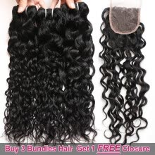 -Ishow Hair Biggest Sale Buy 3 Bundles Water Wave Hair Get 1 Free Lace Closure on JD