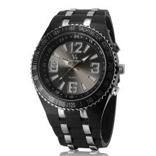 -Men Fashion High Quality Quartz Movement Watch Daily Waterproof Accurate Silicone Wristwatch Round Case Button Buckle V6 Brand Watch V260B on JD