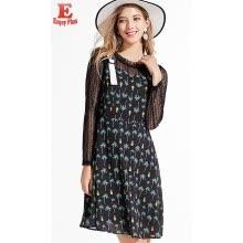 660a6f712226c83 L - 5XL плюс размер элегантный новый осень 2018 женщин платье длинный рукав  большой размер черный печати кружева полые из офиса