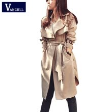 875061819-Spring Autumn Women Trench Coat 2015 New Fashion Long Outwear Plus Size Waist Slim Trench Coat for Women With Belt Spring Coat on JD