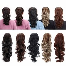 -15' Synthetic Claw Clip On Ponytail Extensions Hair piece Long Curly Clip In Hair Human Extensions Heat Resistant Ponytail Wig on JD