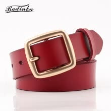 belts-Badinka 2018 New Designer Wide Black White Red 100% Genuine Leather Belt Female Square Gold Buckle Waist Belts for Women Jeans on JD