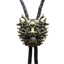 -Vintage Bronze Plated Real White Pearl Dragon Bolo Tie Leather Necklace on JD