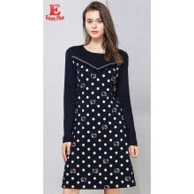 -M L XL XXL 3XL 4XL 5XL plus size cotton casual autumn 2018 women dress long sleeve large size navy blue cat dot print elegant on JD