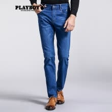 -Playboy PLAYBOY Jeans Men's Young Student Straight Business Casual Slim Pants DH17180188 Denim Blue 35 (2 feet 8) on JD