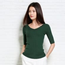 -MAZOE wild Slim solid color ribbed knitted sleeve V-neck T-shirt S1212 black all yards on JD