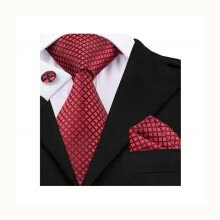 ties-handkerchiefs-Red tie handkerchief cufflinks set jacquard knitted silk tie on JD