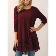 -Sexy Womens Plus Size Long T-shirt Ladies Casual Party Lace Dress Blouse Tops AU on JD