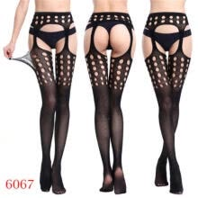 -Womens Fashion Black Sheer Lace Dots Pantyhose Socks Tight Slim Stockings Worthy on JD