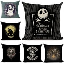 decorative-pillows-Dibujos animados de Halloween Skull Jack Cojín cubierta Pesadilla Antes de Navidad Impreso Lino Throw Cojines Funda de almohada de on JD