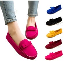 875061444-Women Lady Bow Suede Ballet Flats Slip On Comfortable Loafers Casual Boat Pea Shoes on JD