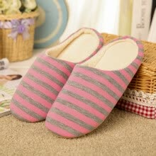 women-shoes-Stripes soft soles cotton indoor slippers on JD