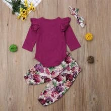 t-shirts-Newborn Toddler Baby Girl Tops T shirt Floral Pants Headband Outfit Clothes Set on JD