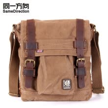 -Tsd Men's Canvas Leather Messenger Bag Vintage Canvas Shoulder bag Field Bag leisure canvas bag khaki on JD