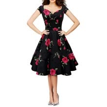 -Women Vintage Dress Rockabilly Swing Retro Rose Floral Ball Gown Party Prom Plus Size Cotton Dress on JD