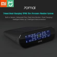 -Xiaomi 70mai TPMS Tire Pressure Tester Monitor Solar Power Dual USB Charging 4 Built-in Sensors System Alarm with Car Gauge Sens on JD
