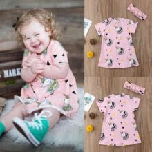 -Kids Baby Girls Unicorn One Piece Dress Short Sleeve Cotton Dresses Outfits 1-5T on JD