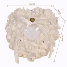 -Wedding Ceremony Ivory Satin Crystal Flower Ring Bearer Pillow Cushion on JD