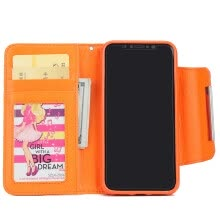 -New iPhoneX Mobile Phone Cases Samsung Mobile Shell Wallet Flip Card Protector Orange on JD