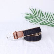 belts-Unisex Mens Canvas Elastic Woven Leather Pin Buckle Waist Belt Stretch Waistband on JD