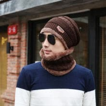 -Men Camping Hat Winter Beanie Baggy Warm Wool Fleece Ski Cap + Scarf Neckerchief on JD