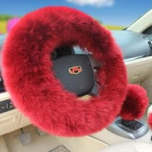 -USA 3Pcs Soft Warm Sheepskin Long Wool Plush Fuzzy Steering Wheel Cover 12 Style on JD