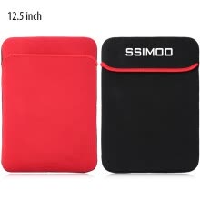 -Shockproof Double-faced Foam Fabric Laptop Bag for MacBook / Surface Book 12.5 inch One Side is Black and the Other Side is Red on JD