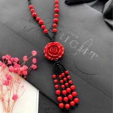 pendants-New vermilion sweater chain rose flower pendant fall winter long hanging decorations jewelry chain accessories on JD
