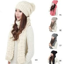 875062531-MyMei Women's Warm Woolen Knit Hood Scarf Shawl Caps Hats Suit 1 Set on JD